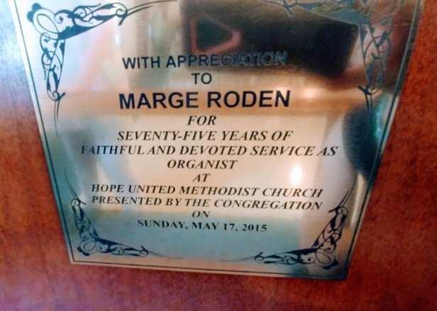 Marge Roden Dedication